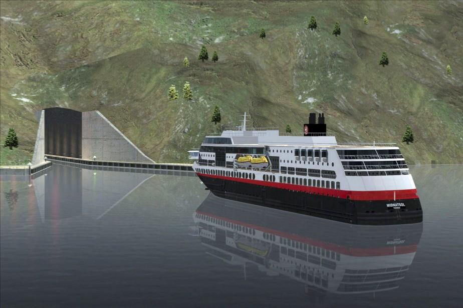 Le tunnel de 1,7km devrait traverser la portion... (Image Snohetta/Norwegian Coastal Administration via AP)