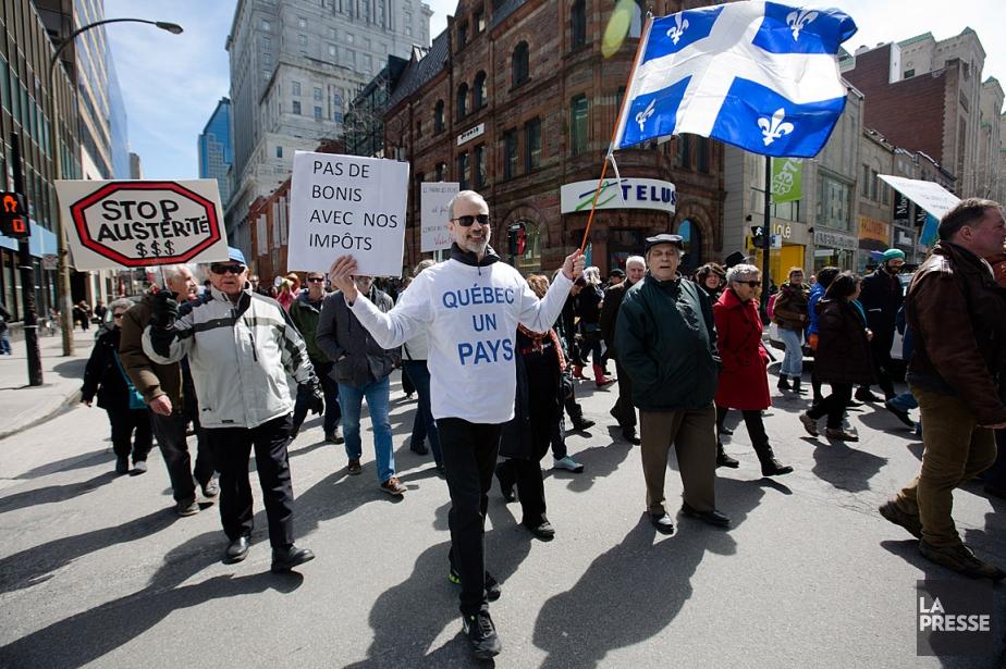 Les manifestants ont défilé dans les rues du... (PHOTO NINON PEDNAULT, LA PRESSE)
