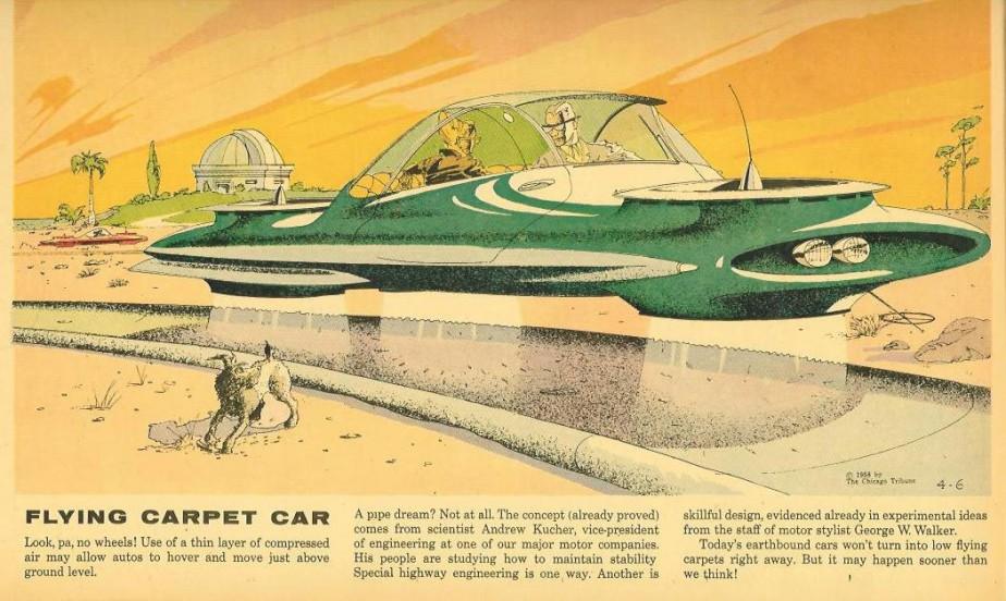 La voiture du futur du passé, ou la nostalgie de ce qui ne s'est jamais avéré. Ce dessin illustrait un article du quotidien <em>Chicago Tribune, </em>qui annonçait hardiment que ces voitures volantes pourraient arriver «plus tôt que l'on pense». ()