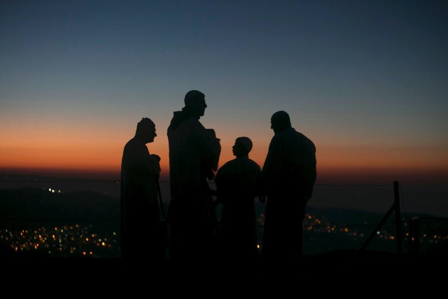 Des samaritains participent à une cérémonie au mont Gerizim, près de la ville de Naplouse, au nord de la Cisjordanie. | 17 avril 2017