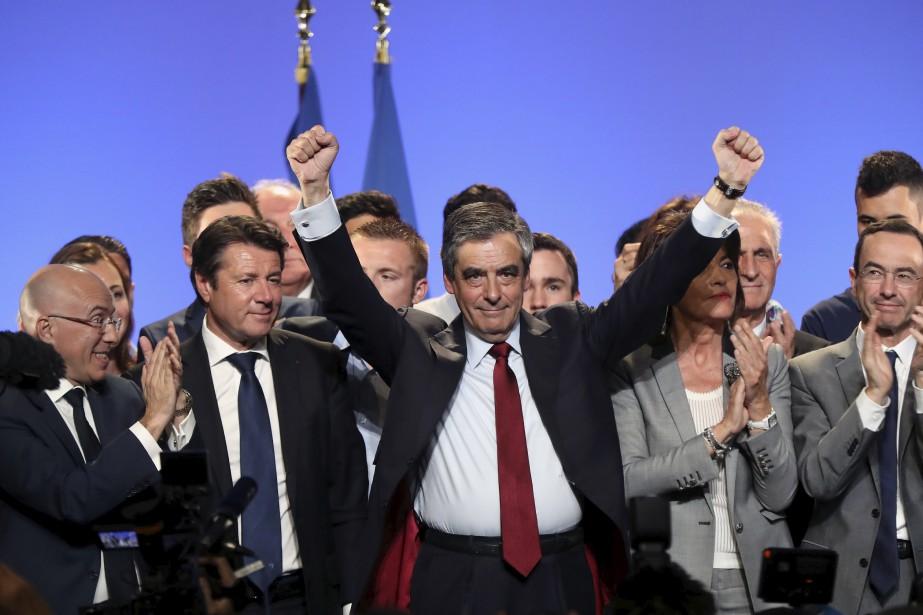 Le candidat à l'élection présidentielle française François Fillon après avoir... | 2017-04-18 00:00:00.000