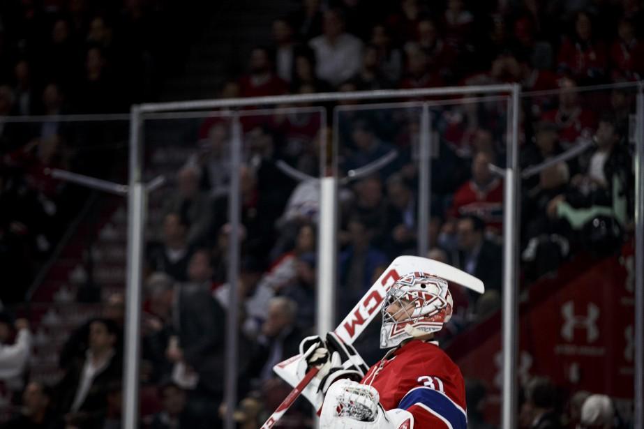Le gardien du Canadien Carey Price au courant de la deuxième période. | 20 avril 2017