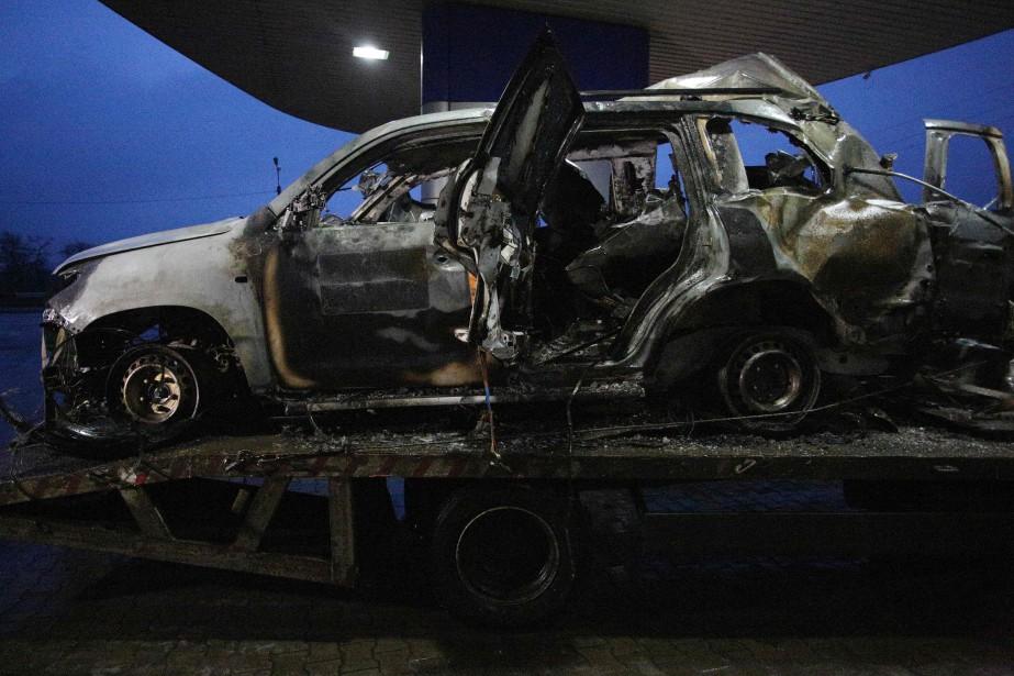 Au moment de l'explosion, selon l'armée ukrainienne, il... (PHOTO AFP)