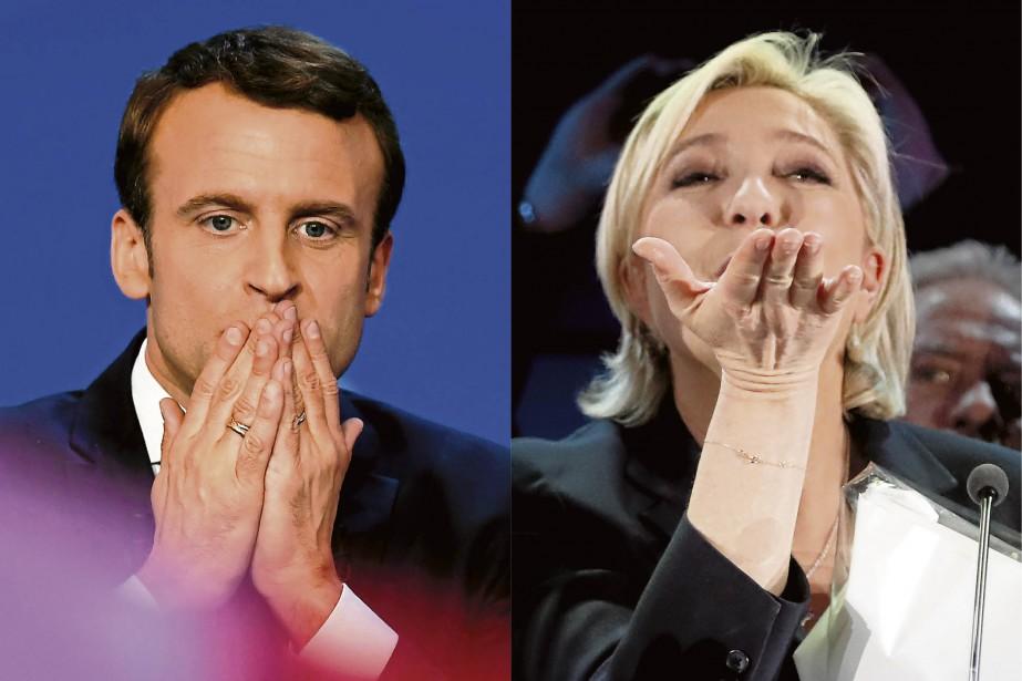 Le centriste Emmanuel Macron et la candidate de l'extrême droite Marine Le Pen passent au deuxième tour. (AFP, Eric Feferberg et AP, Frank Augstein)