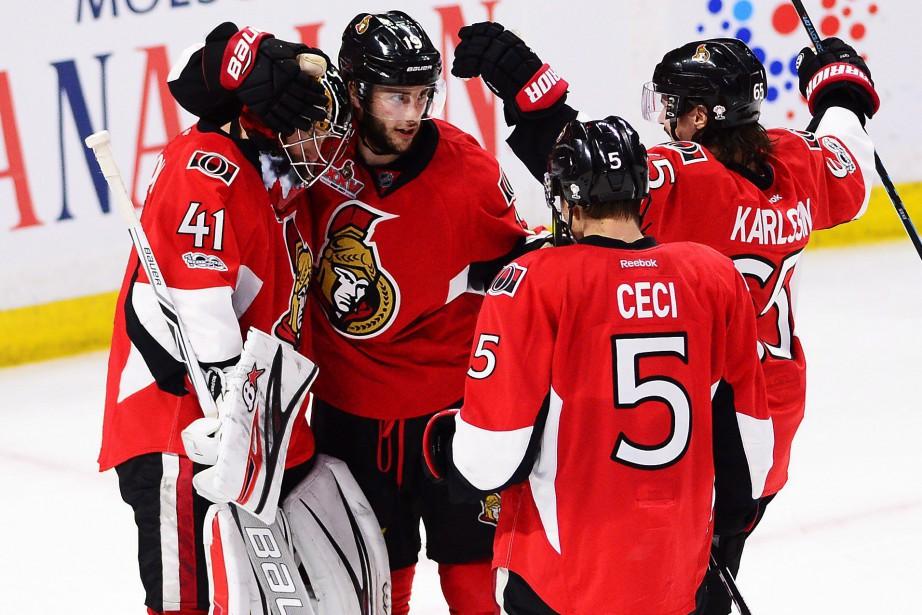 Il s'agissait du premier but de Karlsson lors... (Photo Sean Kilpatrick, La Presse canadienne)