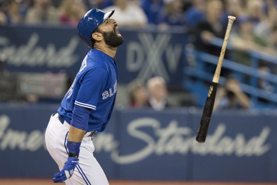Jose Bautista n'était visiblement pas heureux.... (Photo Fred Thornhill, La Presse canadienne)