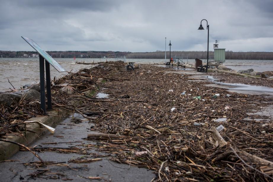 Le débordement du fleuve Saint-Laurent a amené son lot de débris sur ce quai à Nicolet. (François Gervais, Le Nouvelliste)