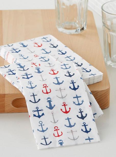 Serviettes de papier Ancres marines, 6 $ le paquet de 16, chez Simons | 10 mai 2017