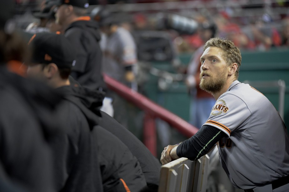 Hunter Pence a subi une élongation de l'ischio-jambier gauche.... (Photo Michael E. Keating, AP)