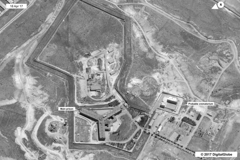 Une image satellite de la prison deSaydnaya.... (Photo DigitalGlobe via Agence France-Presse)