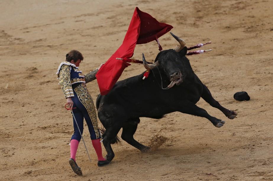 L'Espagnol Roman Collado tient tête à son adversaire bovin pendant... | 2017-05-16 00:00:00.000