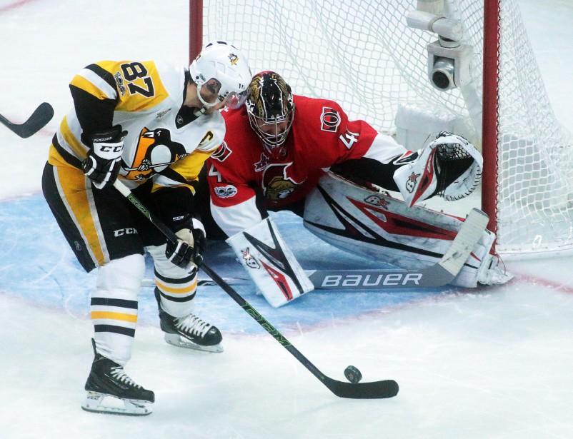 Sidney Crosby a terminé la soirée avec six tirs, mais aucun but. | 23 mai 2017