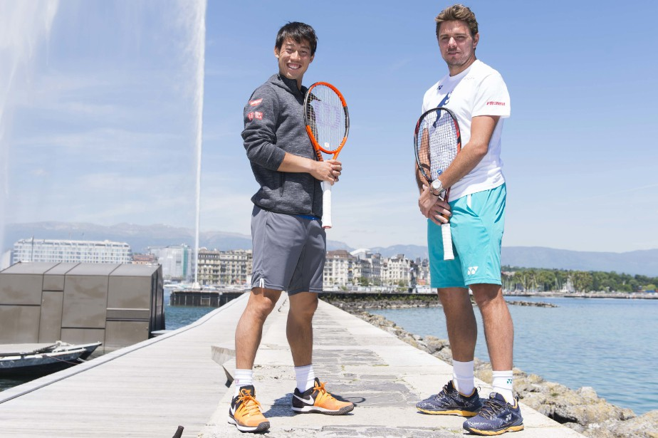 Stan Wawrinka et Kei Nishikori... (Photo Thomas Delley, Keystone/AP)