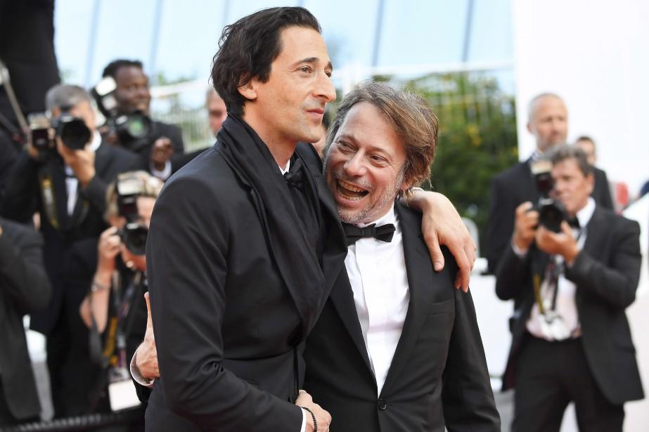 L'acteur américain Adrien Brody et le réalisateur françaisMathieu Amalric à leur arrivée à la projection de D'après une histoire vraie. | 27 mai 2017
