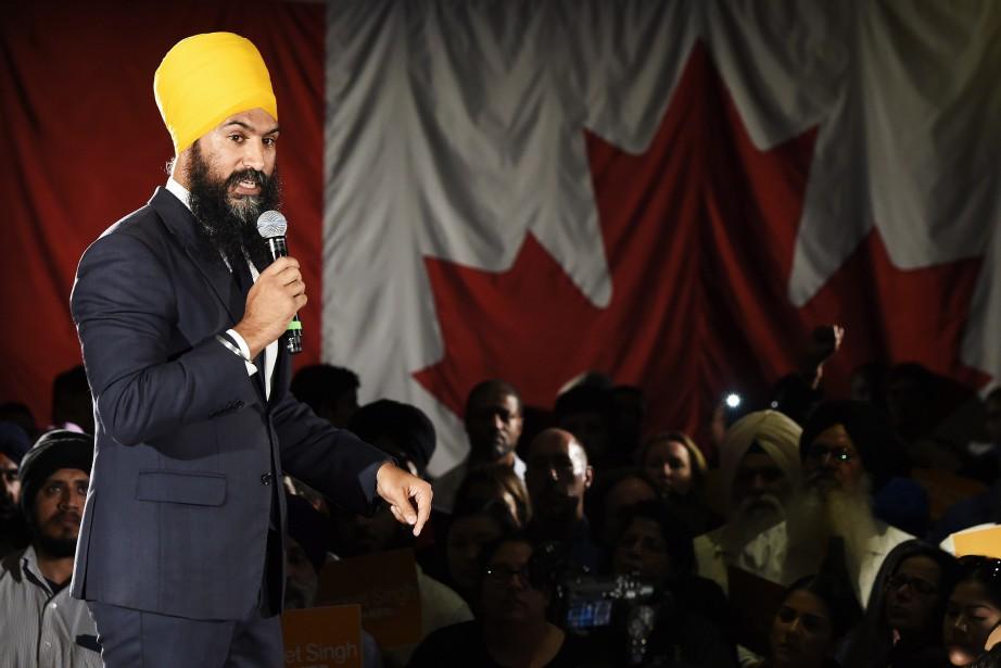 Jagmeet Singh lors d'un rallye à Brampton, le... (PHOTO PC)