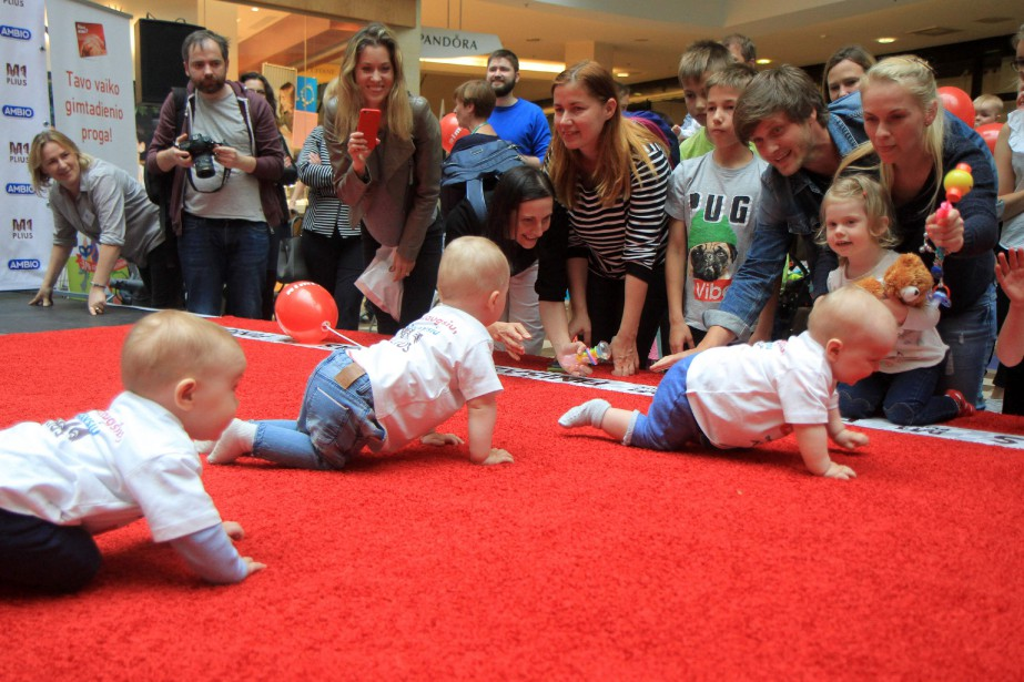 Babies take part in a Baby Race to...