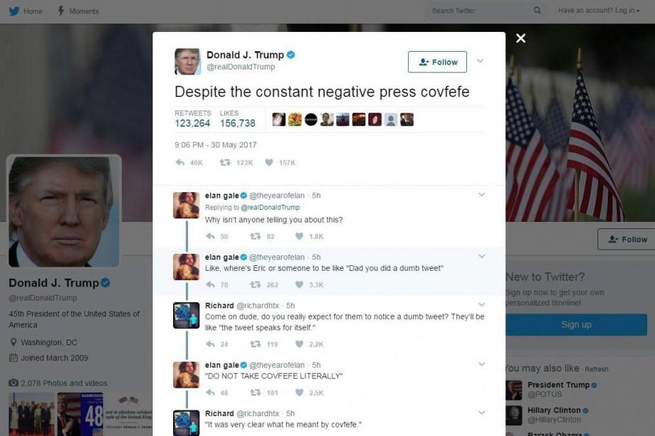 L'expression «covfefe» utilisée par M.Trump dans un tweet... (PHOTO AP)
