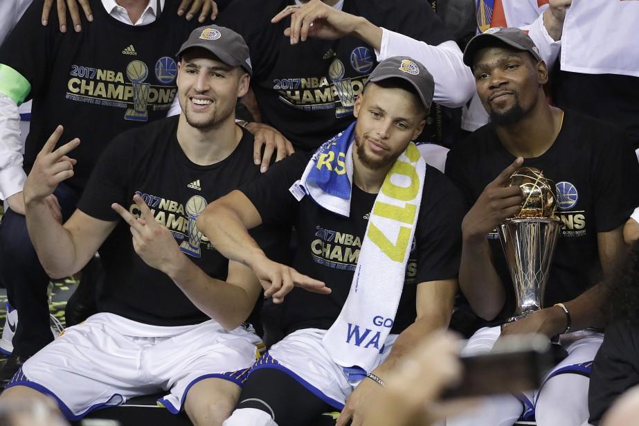 Klay Thompson, Stephen Curry et Kevin Durant.... (Photo Marcio Jose Sanchez, Associated Press)