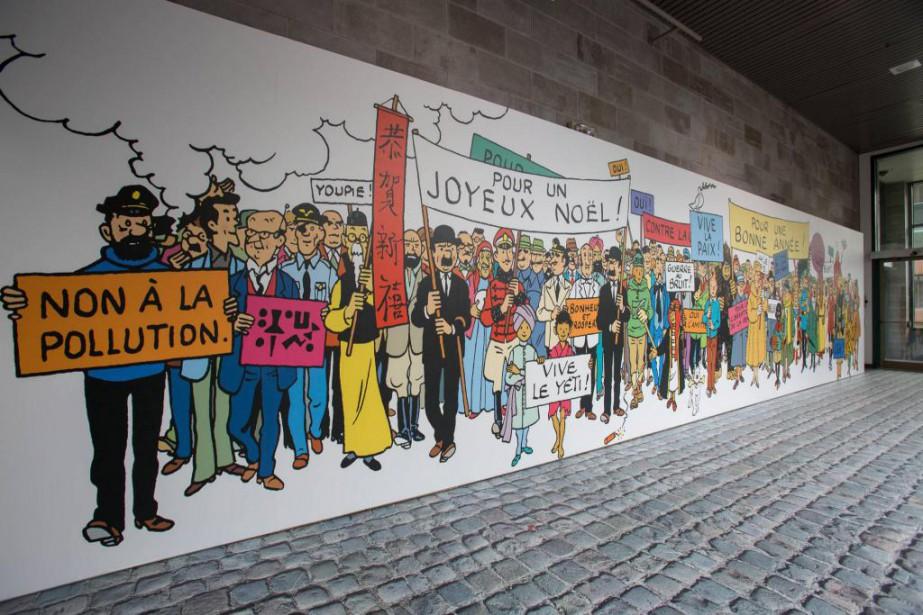 Une fresque avec tous les personnages des albums... (Photo Marie-Josée Turcotte, Icône,fournie par le Musée de la civilisation de Québec)