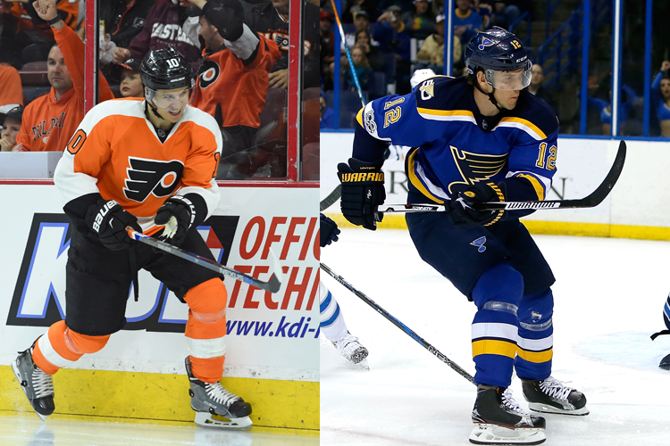 Brayden Schenn (à gauche) passe aux Blues en... (Photo archives USA Today Sports)
