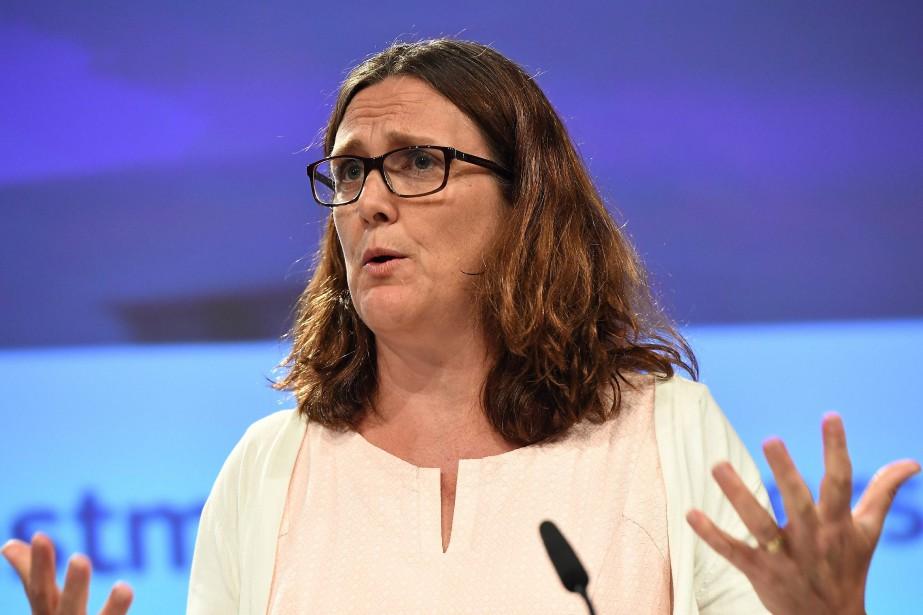 La commissaire européenne au Commerce, Cecilia Malmström.... (Photo Cesar Leimgruber, Agence France-Presse)