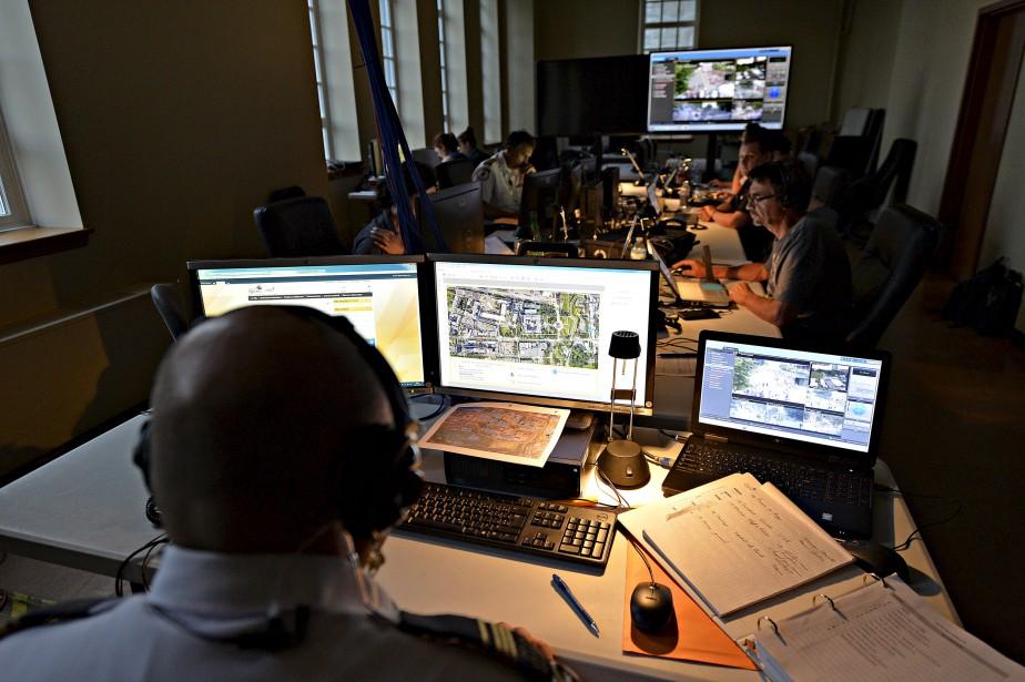 Le centre de contrôle des opérations du FEQ, où l'on s'assure de la sécurité des festivaliers.   7 juillet 2017