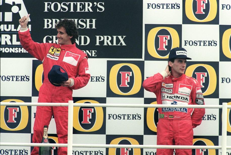 Le Français Alain Prost (à g.) avait eu le dessus sur le Brésilien Ayrton Senna lors du GP de Grande-Bretagne de 1990. (AFP)