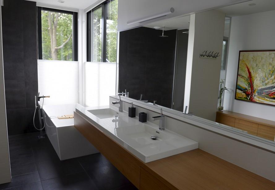 une maison contemporaine et transparente. Black Bedroom Furniture Sets. Home Design Ideas
