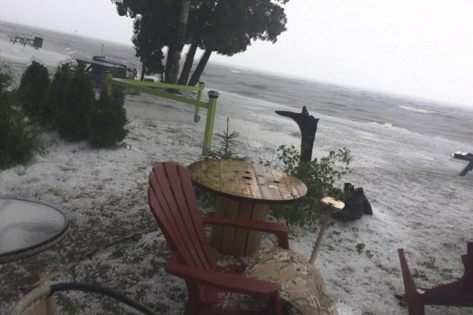 La tempête de vendredi n'a pas épargné le secteur de Saint-Gédéon. (Courtoisie)