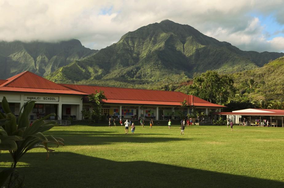 L'école publique de Hanalei est dans un cadre époustouflant. (Brigitte Thériault)
