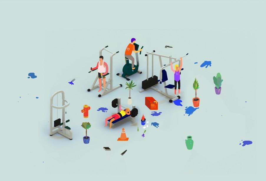 <em>Salle d'entraînement</em>, de Charles-Étienne Brochu (fournie par le Symposium de Baie-Saint-Paul)