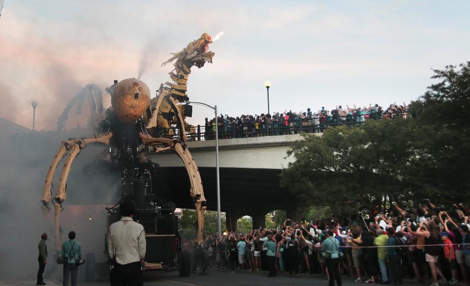 Long Ma veut récupérer son temple sacré dérobé par Kumo, ce qui lui rendra ses ailes, brulées par l'araignée, selon le scénario de La Machine. (Etienne Ranger, Le Droit)