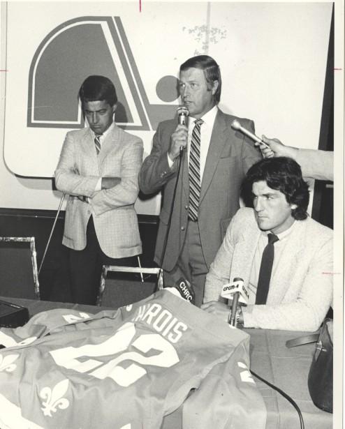 Avec Michel Bergeron (à gauche) et Mario Marois en août 1983 (Archives Le Soleil)