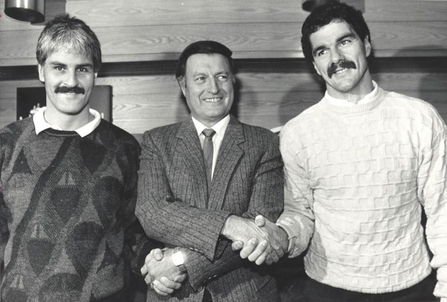 Au centre avec Alain Côté (à gauche) et Michel Goulet, en octobre 1987 (Archives Le Soleil)