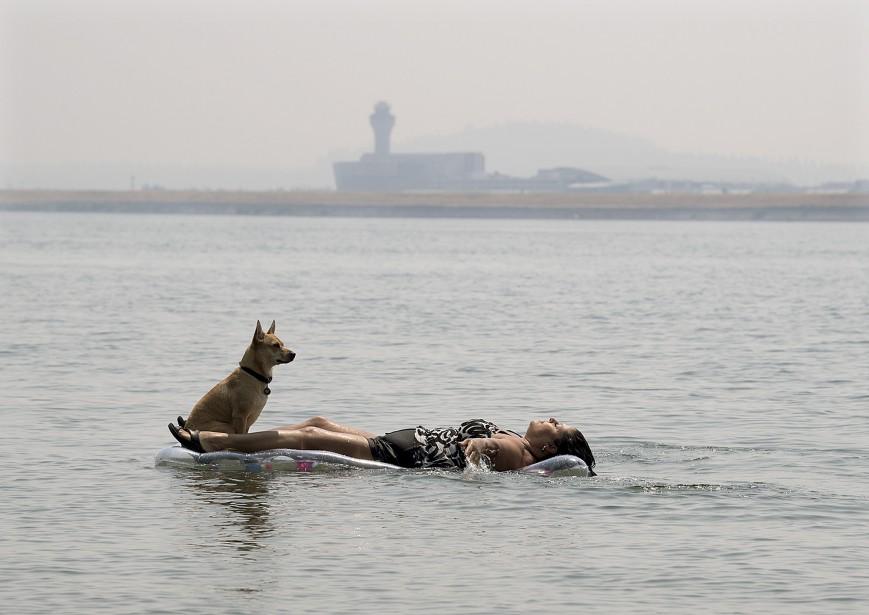 La tour de l'aéroport international de Portland est à peine visible à travers le brouillard, alors que Marina Vanegas s'étire, en compagnie de son chien, dans les eaux du Wintler Park, à Vancouver. | 4 août 2017