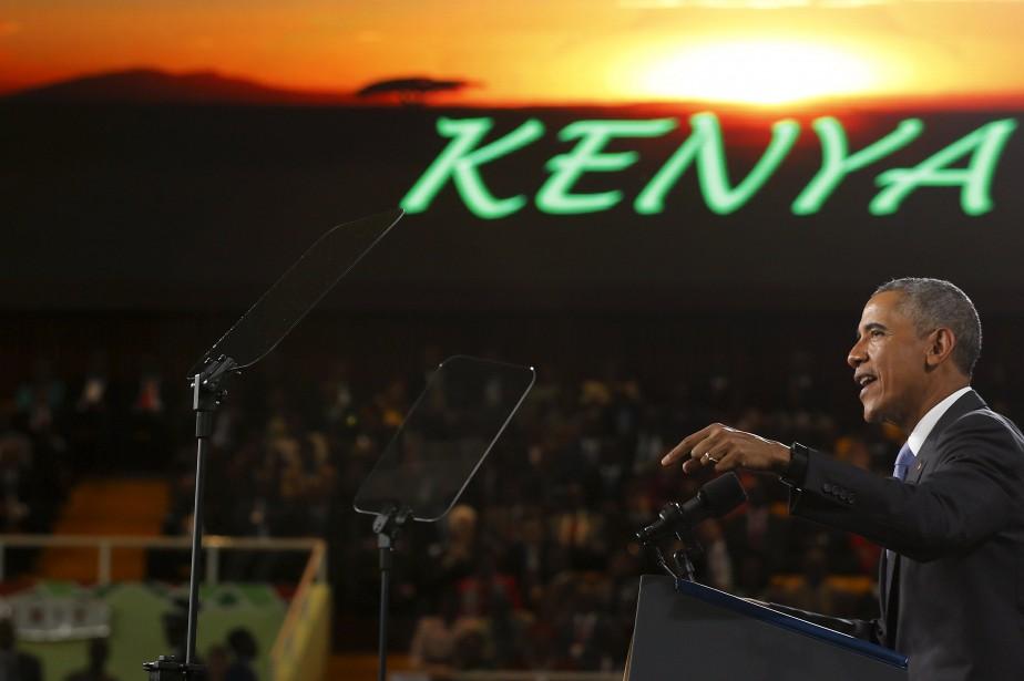 Barack Obama livrant un discours dans un stade... (REUTERS)