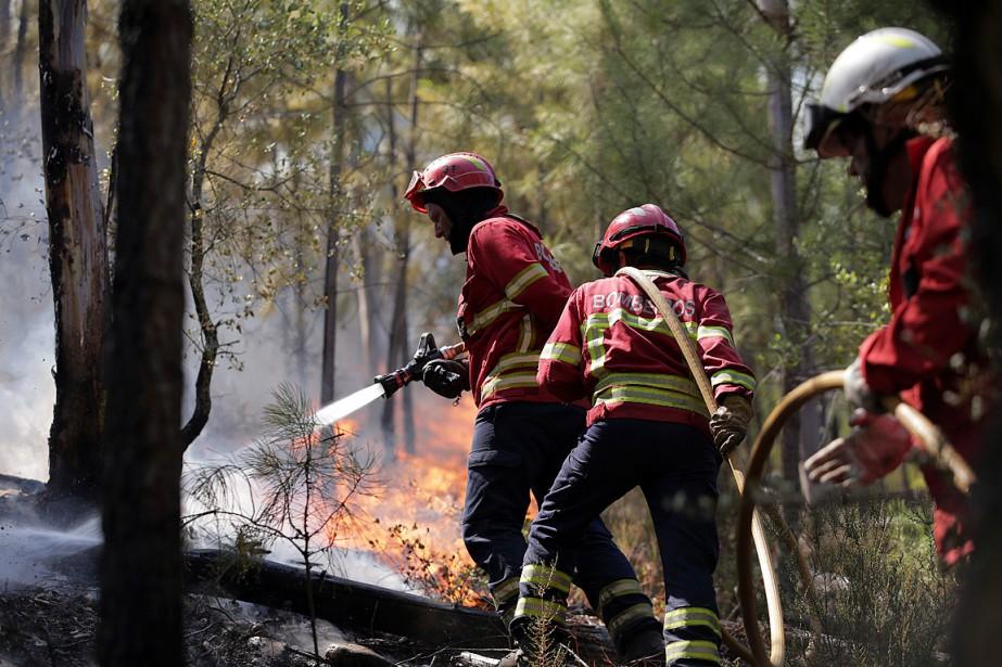Des pompiers tentent de contrôler un incendie s'approchant... (PHOTO ARMANDO FRANCA, ASSOCIATED PRESS)