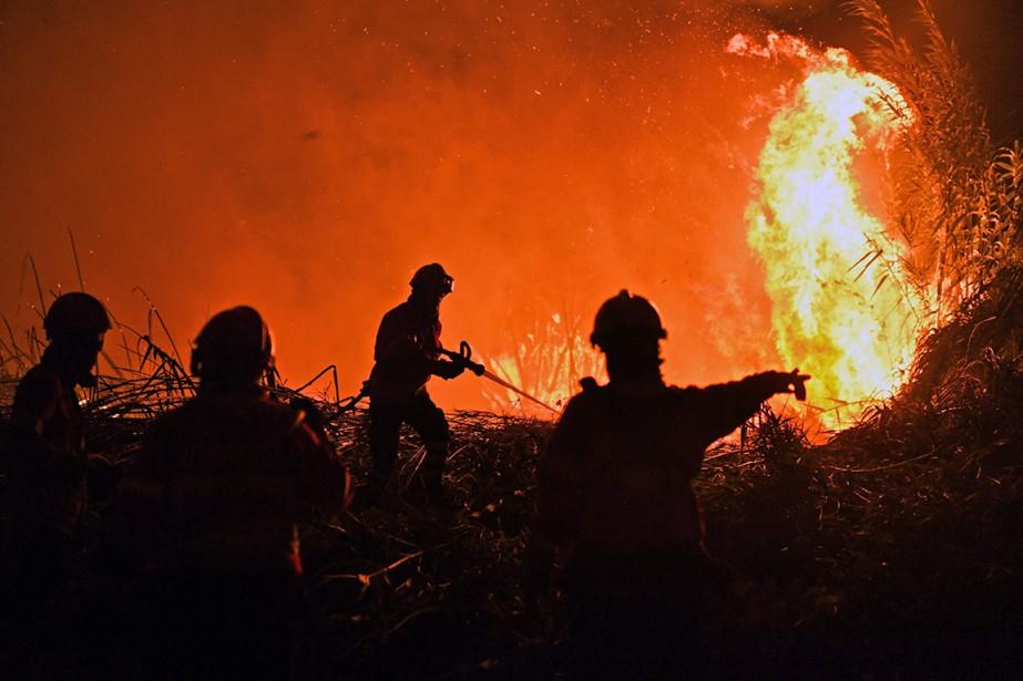 Des pompiers tentent de maîtriser un incendie de... (PHOTO PATRICIA DE MELO, AFP)