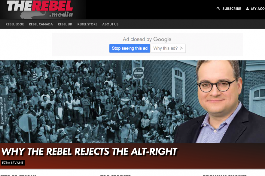 Le cofondateur de The Rebel Ezra Levant a... (Capture d'écran du site The Rebel)