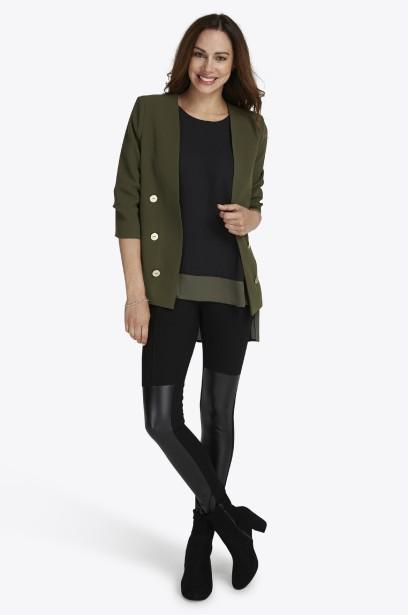 Veston doublé (49,98 $), blouse asymétrique sans manches avec empiècement... | 2017-08-28 00:00:00.000