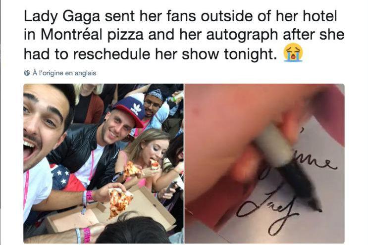 «Lady Gaga a donné des pizzas et des... (image tirée de Twitter)