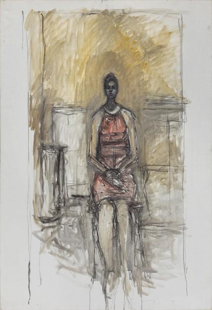 Alberto Giacometti,  Caroline assise   en pied , vers 1964-1965. Huile sur toile, 136 x 95 cm  | 6 septembre 2017