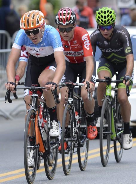 La course a été marquée par une longue échappée à quatre, dont a fait partie le Lévisien de 20 ans Pier-André Côté (à l'avant). | 8 septembre 2017