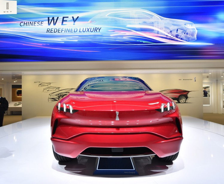 Luxe chinois -  Une voiture de marque Wey, présentée lors de la journée 1 de l'avant-première médiatique. La seconde journée des médias a lieu mercredi et le Salon de l'auto de Francfort ouvre ses portes au public jeudi, jusqu'au 24 septembre. | 12 septembre 2017