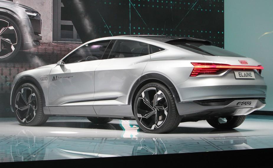 <strong>Autonome -</strong> Le prototype Audi Elaine est doté de systèmes de conduite autonome de niveau 4 (sur une échelle de 5). Il reprend les lignes et la motorisation électrique du e-tron Sportback dévoilé il y a quatre mois. en mai dernier. (AFP)