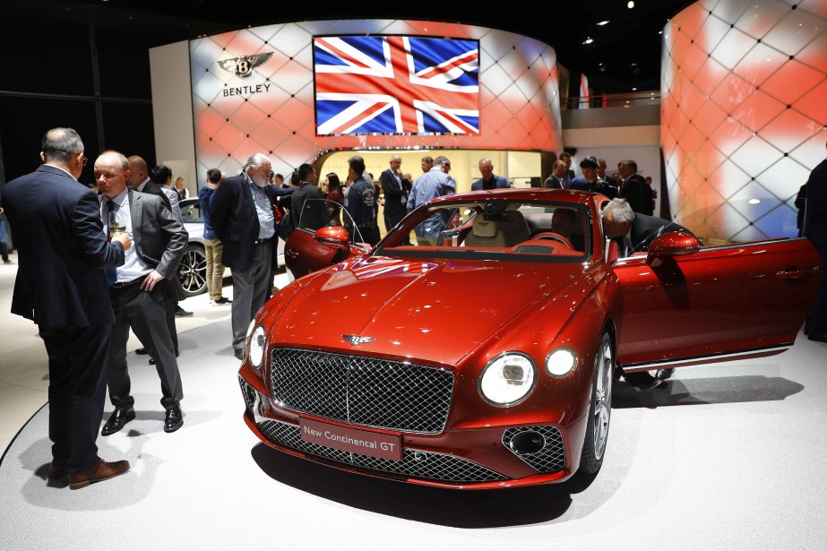 A Bentley Continental GT is pictured during opening...