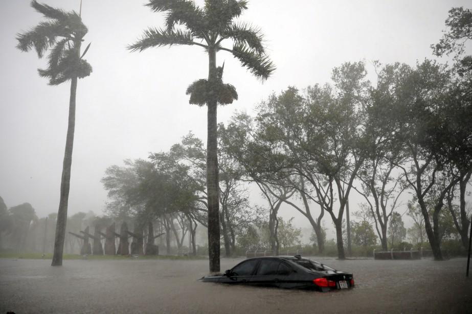 Ça c'est un moteur noyé. L'eau a monté vite dans le quartierCoconut Grove, à Miami. Cette voiture était déjà à moitié submergée le 10 septembre.<br /><br /> (REUTERS)