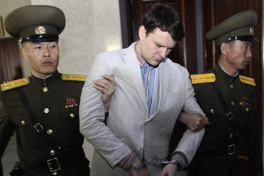 Otto Warmbier détenu à Pyongyang en mars 2016... (AP)
