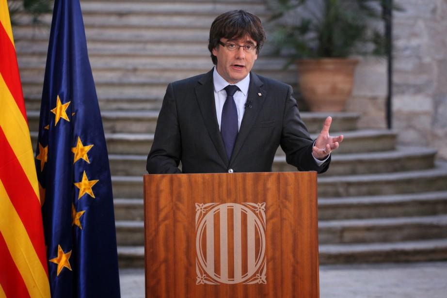 Carles Puigdemont, qui s'exprimait samedi depuis la ville... (PHOTO GENERALITAT DE CATALUNYA / Jordi BEDMAR, AFP)