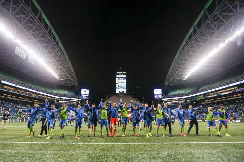 Les joueurs du Sounders FC de Seattle célèbrent... (Photo Joe Nicholson, USA TODAY Sports)